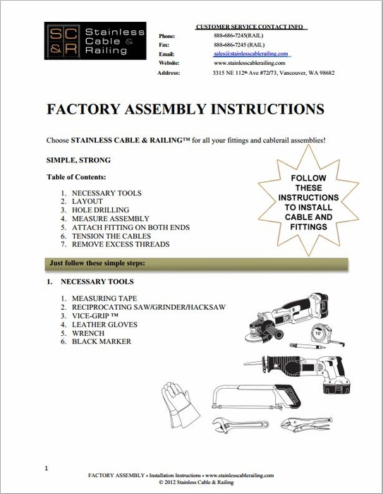 <strong>Factory Swaged - Through Post Fitting - Assembly Instructions</strong>