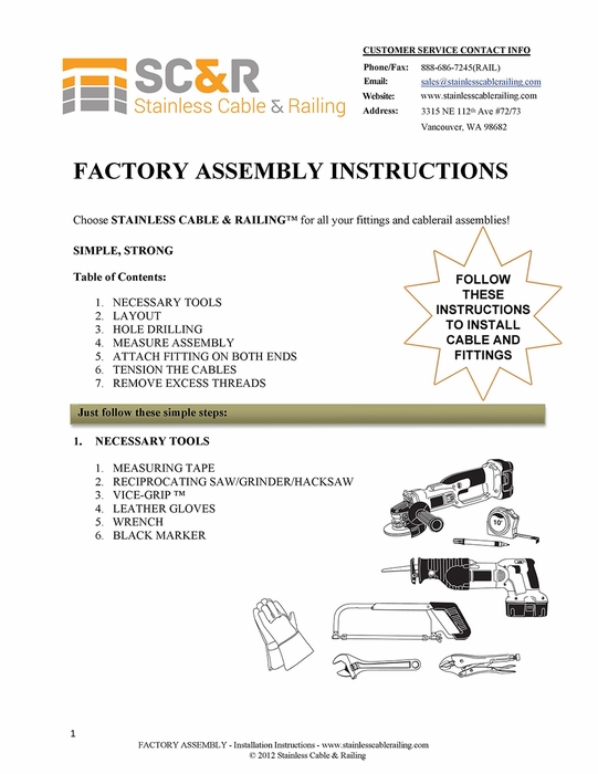 Factory Swaged - Through Post Fitting - Assembly Instructions