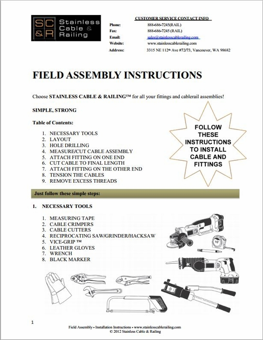 <strong>Field Swaged - Thru Post Fitting - Assembly Instructions</strong>