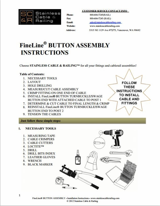 <STRONG>FineLine™ Button Turnbuckle and Swage Button End - Assembly Instructions</STRONG>