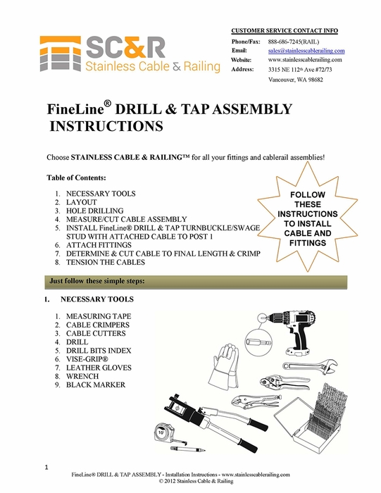 <STRONG>FineLine™ Drill and Tap Turnbuckle and Swage Stud - Assembly Instructions</STRONG>
