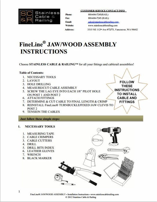 <strong>FineLine™ Jaw Turnbuckle and Lag Eye Fitting for Wood - Assembly Instructions</strong>