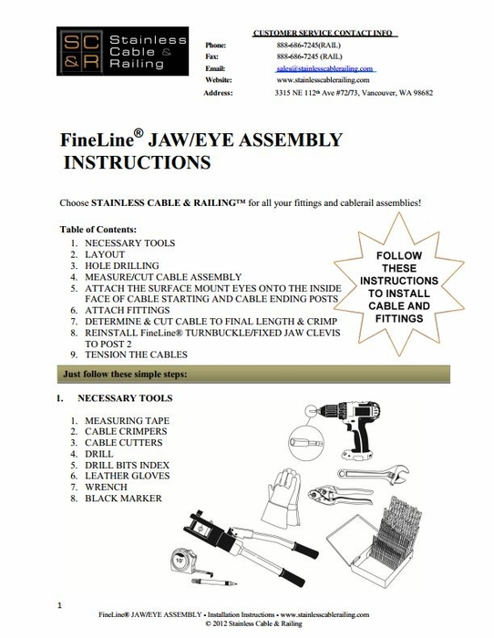 <STRONG> FineLine™ Jaw  Turnbuckle and Surface Mount Eye for Wood or Metal - Assembly Instructions</STRONG>