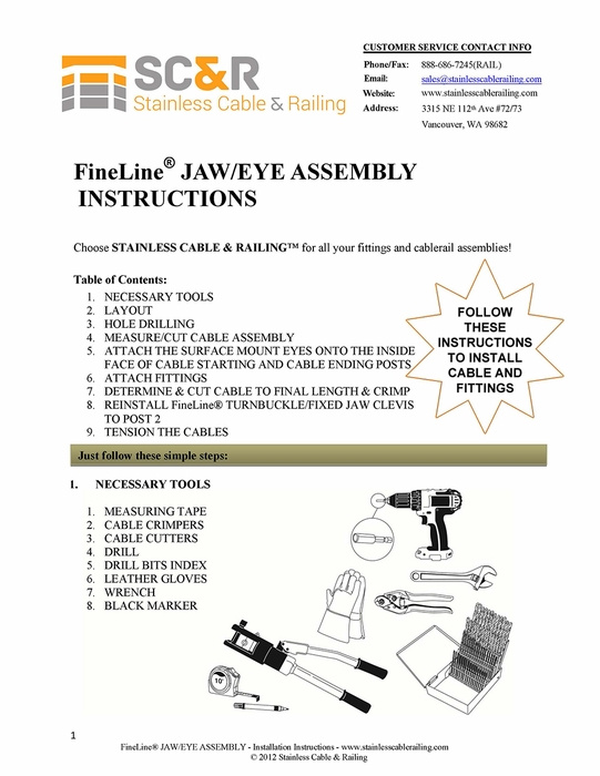 FineLine™ Jaw  Turnbuckle and Surface Mount Eye for Wood or Metal - Assembly Instructions