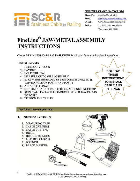 FineLine™  Jaw Turnbuckle and Threaded Eye for Metal - Assembly Instructions