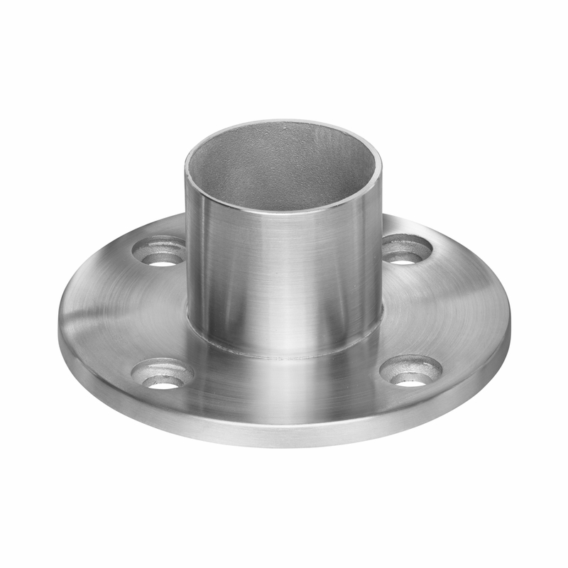 deck flange for cable railing round posts