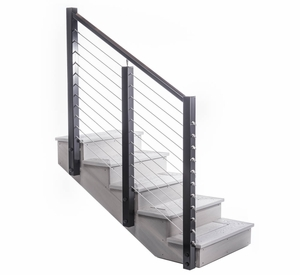 post-to-post angled handrail cable railing