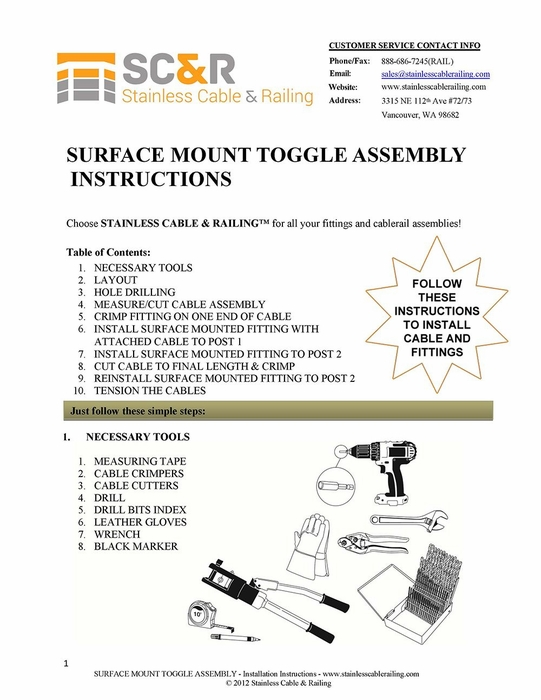 Surface Mount Toggle Turnbuckle and Surface Mount Toggle End Fitting - Assembly Instructions