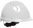 JSP 280-EV6151V-10  Evolution Deluxe - Standard Brim Vented Hard Hat 6 Point Polyester Suspension With Wheel Ratchet Adjustment - White