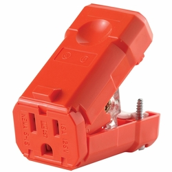 Leviton 5259-VO  15 Amp 125 Volt, NEMA 5-15R, Straight Blade Python Plug Connector, Industrial Grade - Visibright Orange