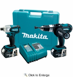 "Makita LXT218  18-Volt LXT Lithium-ion 2-Piece Cordless Tool Combo Kit (1/2"" Hammer Driver-Drill, Impact Driver)"