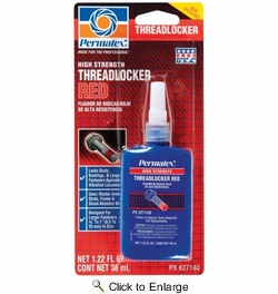 Permatex 27140  High Strength Threadlocker RED - 36 ml Bottle (271)