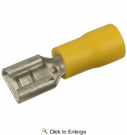 """Pico 1955G  12-10 AWG(Yellow)  Flared Vinyl Insulated Electrical Wiring 0.250"""" Tab Female Quick Connect Receptacle Terminal 100 Per Package"""