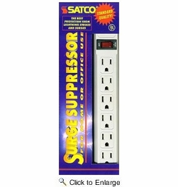Satco 91-220  6 Outlet Power Strip Standard Surge Supressor with Flat Plug - 3 Foot Length