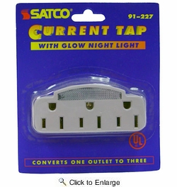 Satco 91-227  3 Outlet Wall Plugin Tap with Glow Light