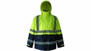 Viking Wear D6335JG  Professional Journeyman Hi-Vis 300D Trilobal Safety Rain Jacket with Hood - X-Large