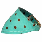 Bandana Dog Collar:  Blue & Chocolate Polka Dots
