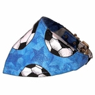 Bandana Dog Collar:  Blue Soccer