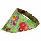 Bandana Dog Collar:  Green Flowers