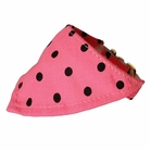 Bandana Dog Collar:  Pink & Black Polka Dots