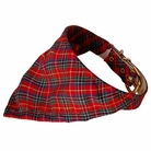 Bandana Dog Collar:  Red Plaid