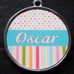 Blue Candy Polka Dot & Stripe Pet ID Tag