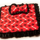Bone & Paw Red Square Dog Bed