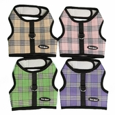 BUCKLE FREE Plaid Mesh Wrap n Go Velcro Bark Appeal Dog Harness