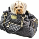 Classic Tote Black Quilted Dog Carrier Bag