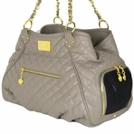 Classic Tote Taupe Quilted Dog Carrier Bag