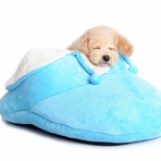 Cozy Slipper Dog Bed - Blue