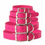 Pinky Pink Leather Dog Collars & Leashes