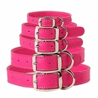 Hot Pink Leather Dog Collars & Leashes
