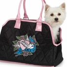 I Love U Black & Pink Dog Carrier