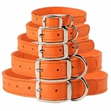 Pumpkin Orange Leather Dog Collars & Leashes