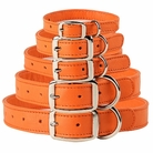Bright Orange Leather Dog Collars & Leashes