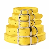 Maize Yellow Leather Dog Collars & Leashes