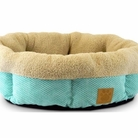 Ocean Wave Aqua Sherling Cup Dog Bed