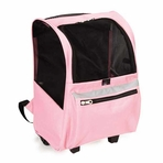 On-The-Go Pet Rolling Pink Backpack Carrier