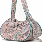 Paisley w/Aqua Trim Couruory Sling Dog Carrier