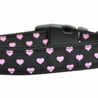 Pink & Black Dottie Hearts Dog Collars & Leashes