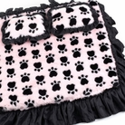 Pink & Black PawPrint Dog Bed