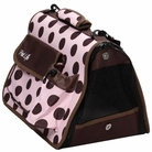 Pink & Brown Polka Folding Pet Carrier