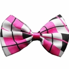 Pink Plaid Dog Bow Tie