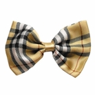 Plaid Cream Dog Bow Tie