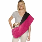 Plush Reversible Pink & Black Sling Pet Carrier