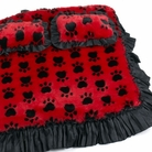 Red & Black PawPrint Dog Bed