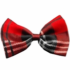 Red Tartan Plaid Dog Bow Tie
