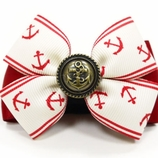 Red & White Nautical Dog Collar / Harness Bow