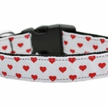 White & Red Dottie Heart Dog Collars & Leashes